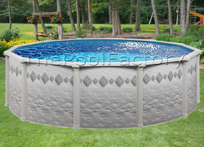 27 round 52 high above ground round swimming pool package resin top ledge ebay for Resin above ground swimming pools